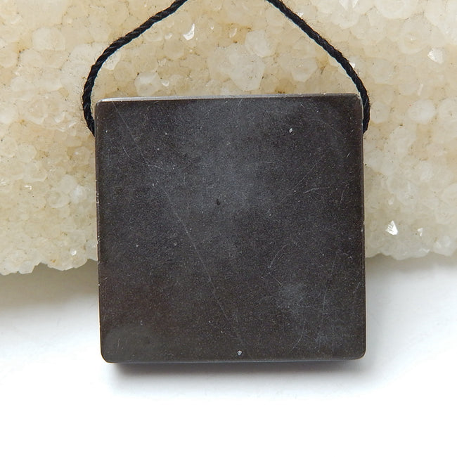 Natural Black Stone And Chohua Jasper Drilled Square Glued Pendant Bead, 30x30x6mm, 12.3g - MyGemGarden