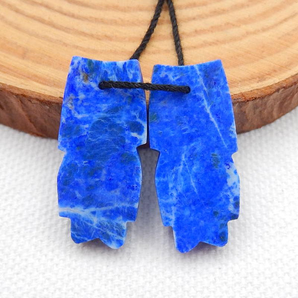 Carved Feather Shaped Lapis Lazuli Earrings Stone Pair, 26x12x4mm, 5.6g