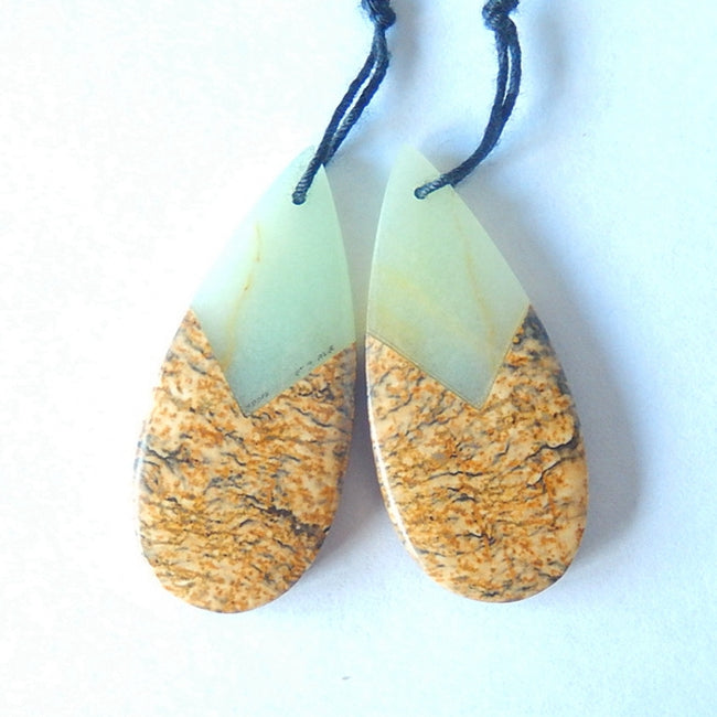 New Design Natural Stone Amazonite£¬picture jasper Glued Earrings 34x15x14mm,6g - MyGemGarden