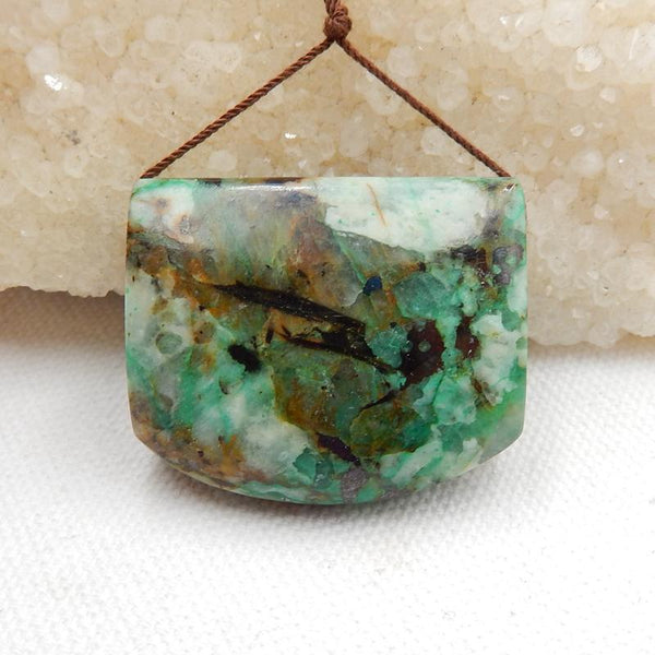 Green Chrysocolla Side Drilled Pendant Stone, 36x30x13mm,  26.4g