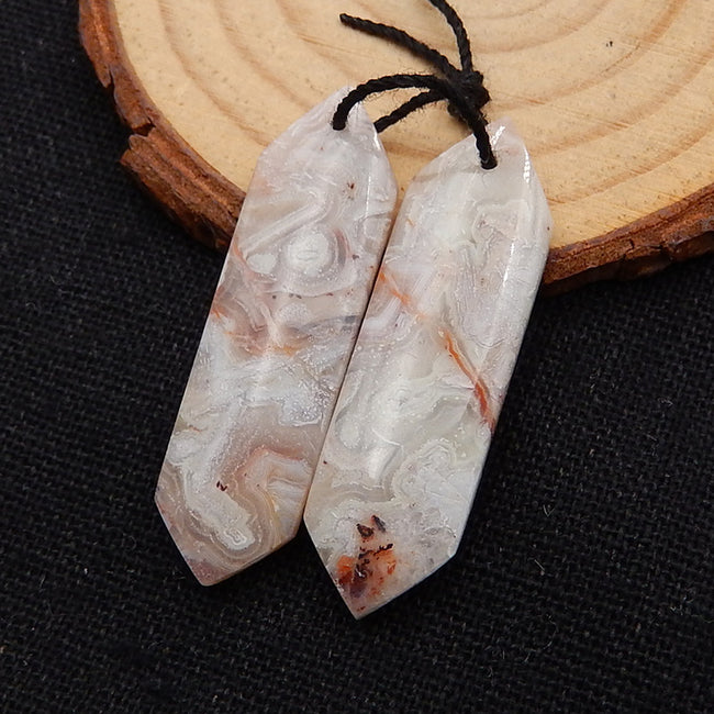 Natural Crazy Lace Agate Earrings Stone Pair, stone for earrings making, 38x11x5mm, 7.1g