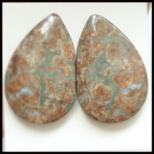 Natural Mushroom Jasper Gemstone Cabochon Pair 29x19x5mm,8.9g - MyGemGarden
