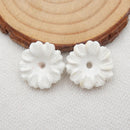 Howlite Flower Earrings Stone Pair, stone for earrings making, 18x5mm, 3.1g