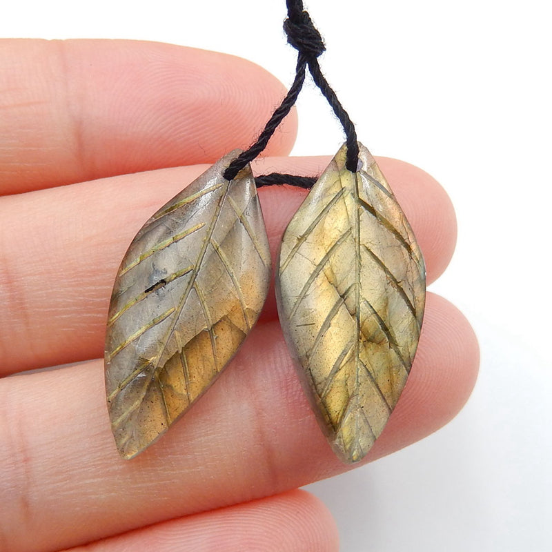 Labradorite Carved Leaf Earrings Stone Pair, 26x12x4mm, 3.8g - MyGemGarden