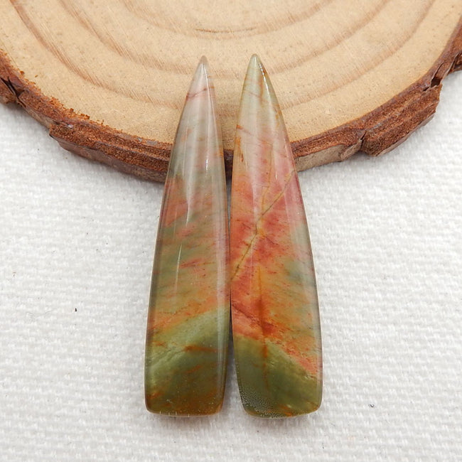 Multicolor Picasso Jasper and White Quartz Glued Gemstone Earrings Stone Pair, 37x8x5mm, 6.1g - MyGemGarden