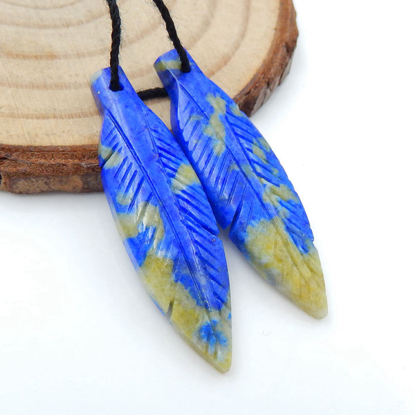 Hand Carved Lapis Lazuli carved Feather Shaped Earrings Stone Pair, 35x10x4mm, 4.5g - MyGemGarden