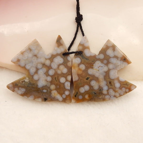 Carved Ocean Jasper Fish Gemstone Earrings set, 30x31x4mm, 9.1g