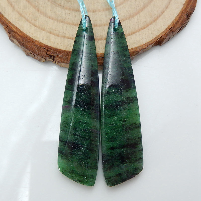 Natural Ruby And Zoisite Earrings Pair, stone for Earrings making, 46x11x5mm, 10.1g - MyGemGarden