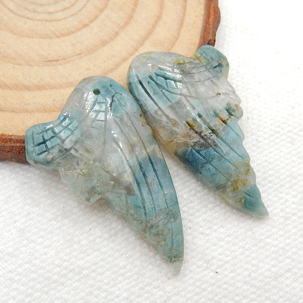 Carved Ocean Jasper Wings Earrings, Handmade Gemstone Wings Dangle Earrings, 32x19x5mm, 7.2g - MyGemGarden
