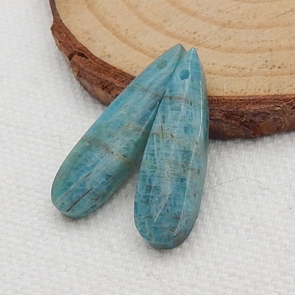 Blue Apatite Crystal Marquise Earrings Stone Pair, stone for earrings making, 25x7x4mm, 2.9g - MyGemGarden