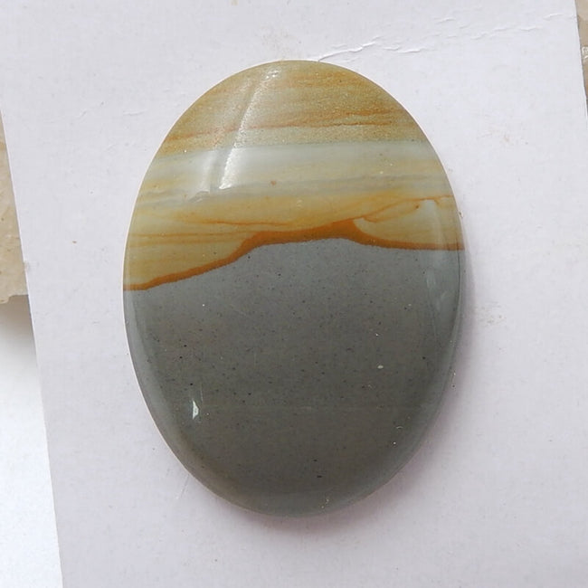 Natural Us Biggs Jasper Oval Gemstone Cabochon, 40x30x8mm, 16.1g - MyGemGarden