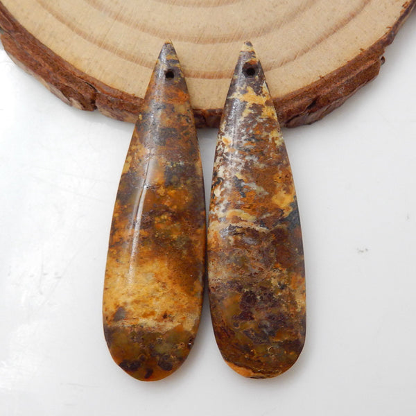 Mookaite Jasper Teardrop Earrings Stone Pair, stone for earrings making, 41x12x4mm, 6.2g - MyGemGarden