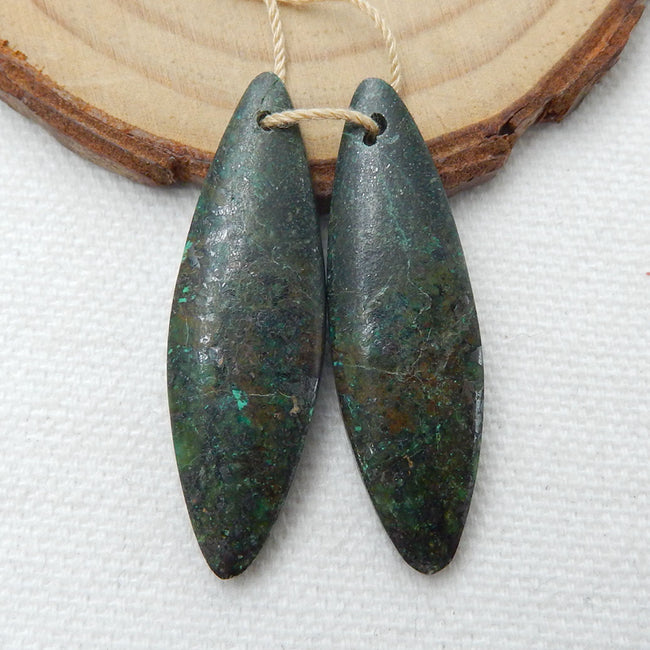 African Turquoise Earrings Stone Pair, stone for earrings making, 38x12x4mm, 6.5g - MyGemGarden