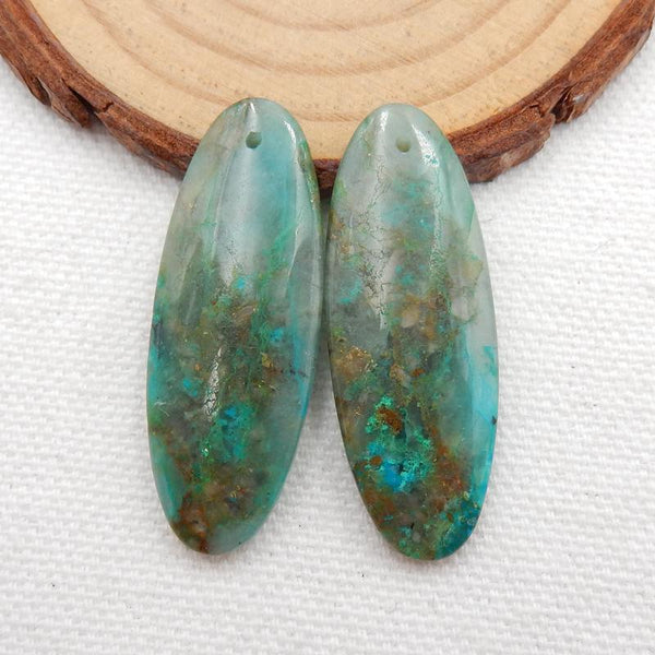Natural Chrysocolla Oval Earrings Stone Pair, stone for earrings making, 38x14x5mm, 8.8g