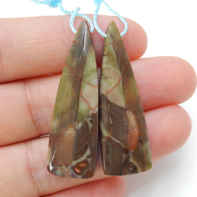 Natural Mushroom Jasper Earrings Pair, stone for Earrings making, 38x12x4mm, 5.97g - MyGemGarden