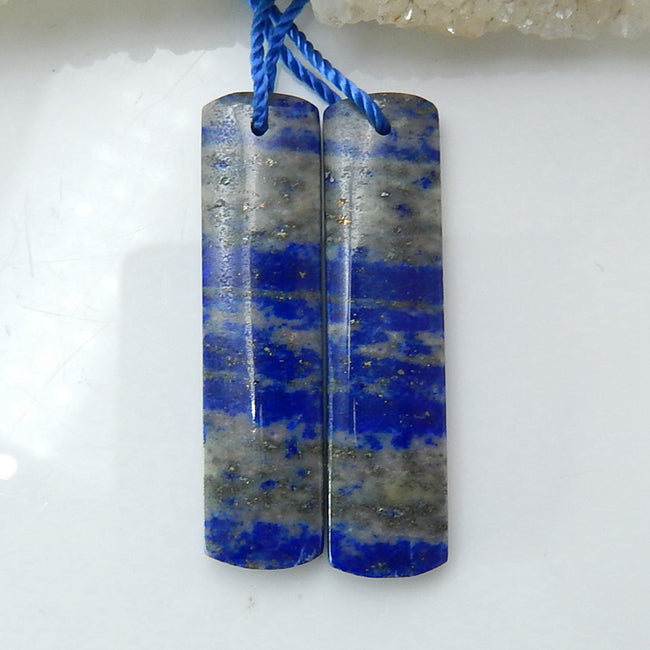 Natural Lapis Lazuli Rectangle Earrings Pair, stone for Earrings making, 36x9x4mm, 6.5g - MyGemGarden