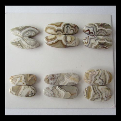6 Pairs Crazy Lace Agate Cabochon,22x8x4mm,30x10x4mm,22g - MyGemGarden