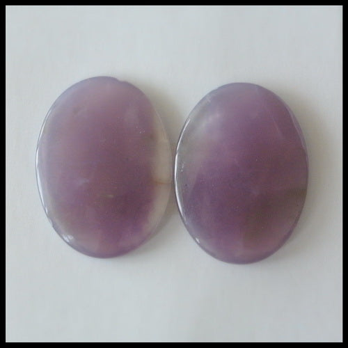 Natural Amethyst Gemstone Cabochon Pair 20x15x3mm,3.2g - MyGemGarden