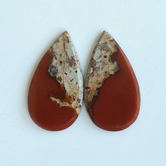 Natural Red River Jasper Teardrop Gemstone Cabochon Pair, 19x13x2mm, 1.8g - MyGemGarden