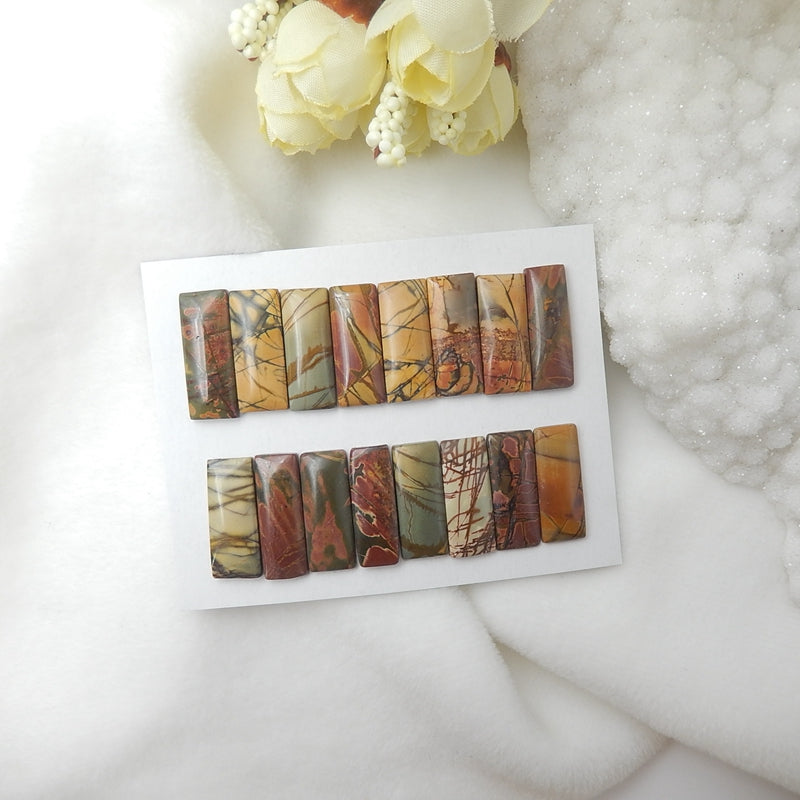 16 Pcs Multi-Color Picasso Jasper Cabochons,25x10x3mm,25x10x4mm,33.1g - MyGemGarden