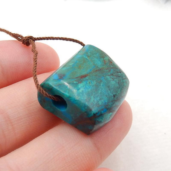 Chrysocolla Side Drilled Pendant Stone, 21x18x10mm, 7.3g