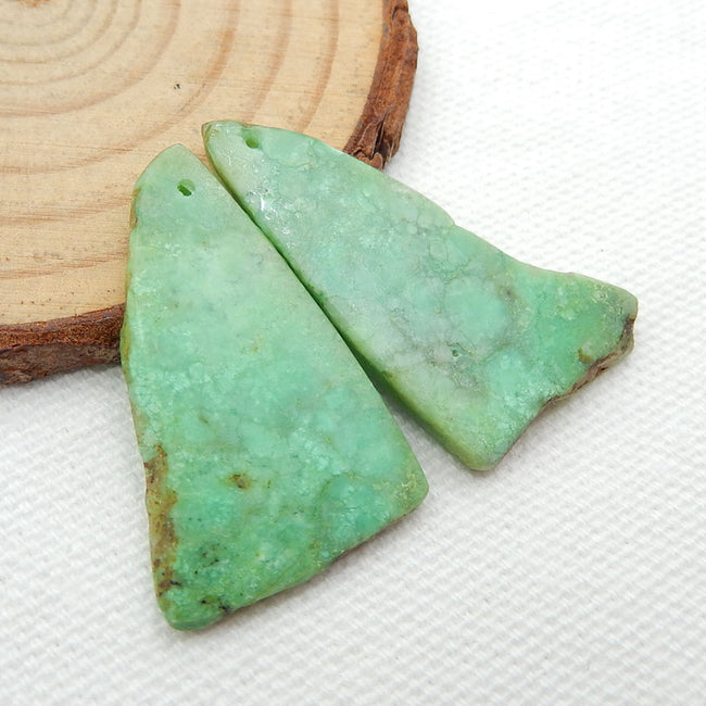 Nugget Chrysoprase Earrings Stone Pair, stone for earrings making, 32x20x3mm, 5.7g - MyGemGarden