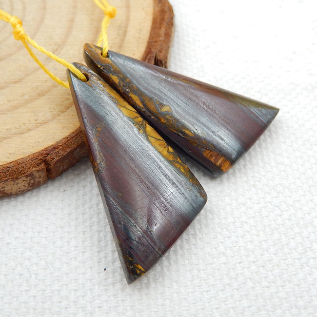 Natural Iron Tiger's Eye Earrings Pair, stone for Earrings making, 26x15x4mm, 6.1g - MyGemGarden