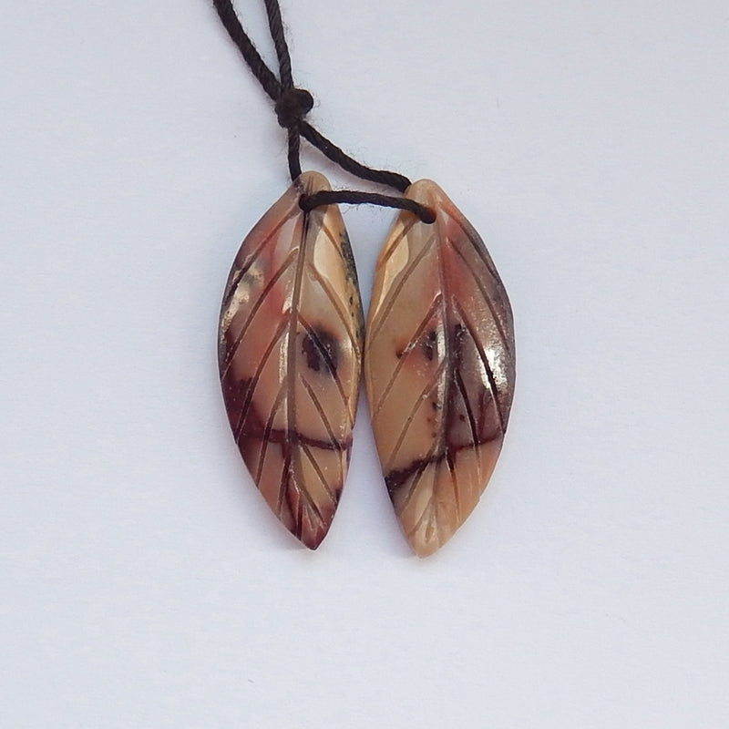 Hot sale Mookaite Jasper Carved leaf Earrings Pair, 30x12x4mm, 4.4g - MyGemGarden