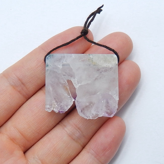 Natural Nugget Amethyst Drilled Gemstone Pendant Bead, 30x26x7mm, 12.5g - MyGemGarden