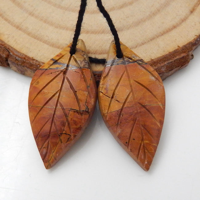 Multicolor Picasso Jasper Carved Leaf Earrings Stone Pair, 26x12x4mm, 3.3g - MyGemGarden