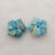 Carved Blue Apatite Crystal Flower Earrings Stone Pair, 13x14x4mm, 1.8g