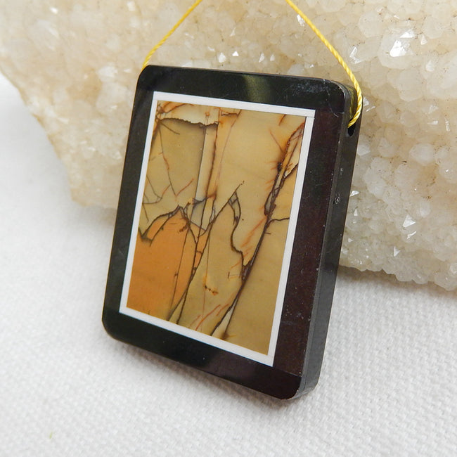Natural Black Stone And Multi-Color Picasso jasper Drilled Rectangle Glued Pendant Bead, 41x34x6mm, 21.4g - MyGemGarden