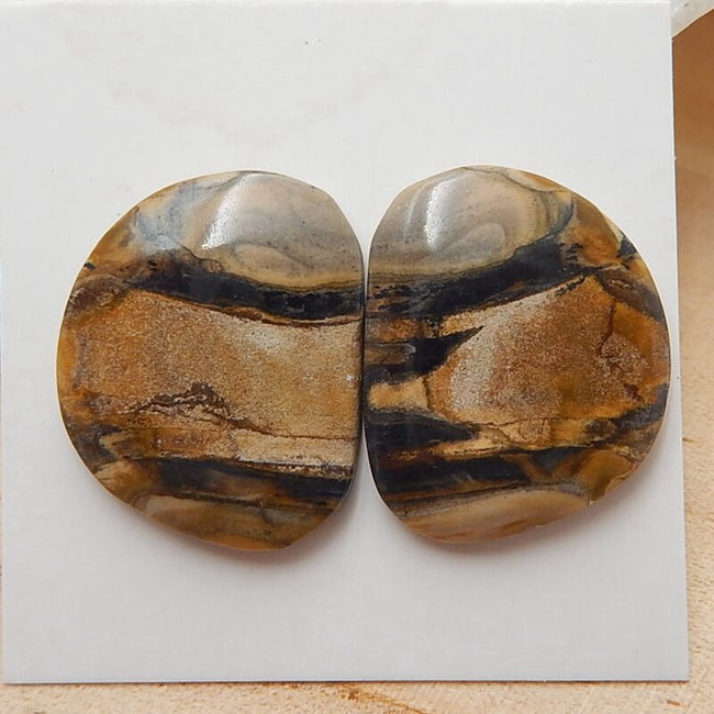 Natural Us Biggs Jasper Gemstone Cabochons pair, 21x19x3mm, 4.4g - MyGemGarden