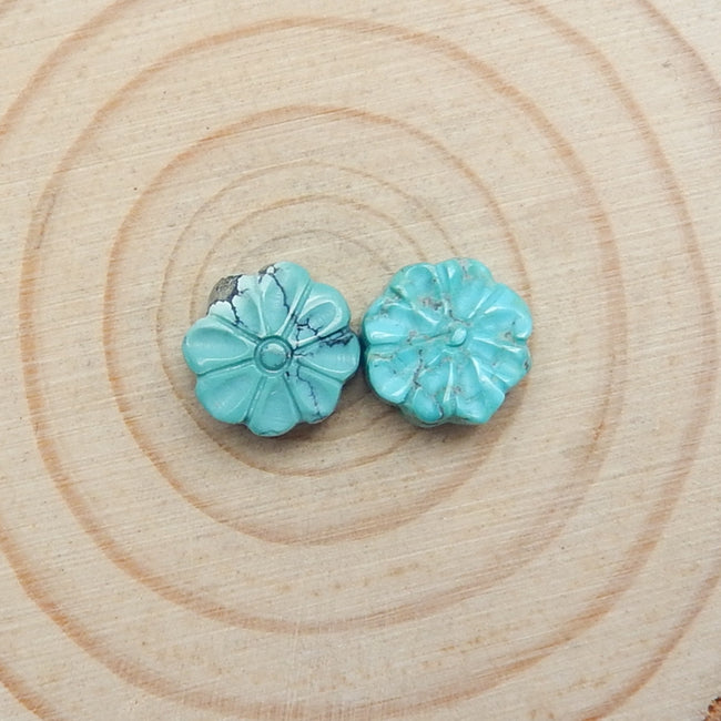 2pcs Natural Turquoise Gemstone Cabochons, 10x5mm, 1.6g - MyGemGarden