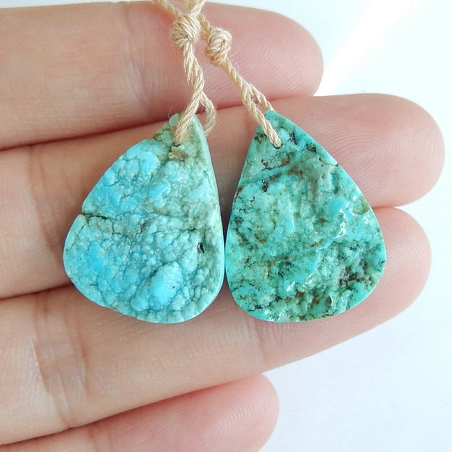 Natural Turquoise Teardrop Earrings Pair, stone for Earrings making, 22x17x5mm, 4.1g - MyGemGarden