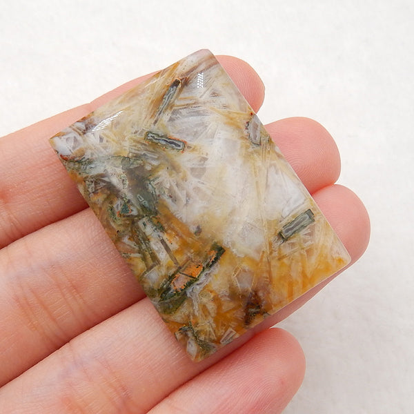 Natural bamboo agate Rectangle Gemstone Cabochon, 35x25x5mm, 8.7g
