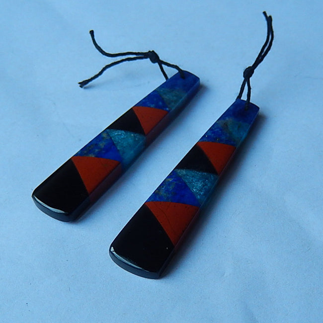 Natural Lapis Lazuli, Blue Jasper, Red River Jasper, Obsidian, Blue Apatite Crystal Glued Earrings Pair, 49x10x4mm, 8.1g - MyGemGarden
