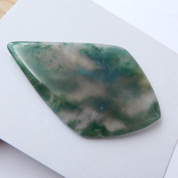 Natural Moss Agate Gemstone Cabochon, 50x32x4mm, 9.2g - MyGemGarden