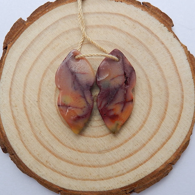 Hot sale Mookaite Jasper Carved leaf Earrings Pair, 27x12x4mm, 3.9g - MyGemGarden