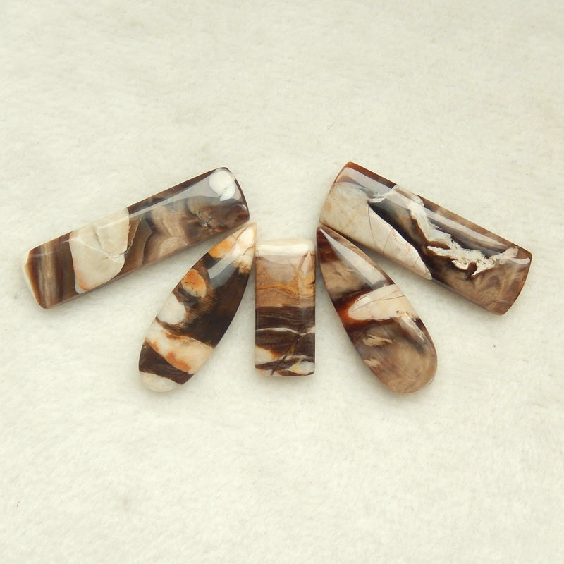 5 pcs Natural Petrified Wood  Gemstone Cabochons, 39x10x4mm,23x10x4mm,15.3g - MyGemGarden