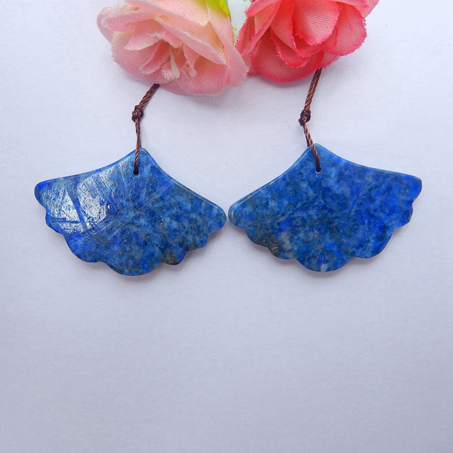Hot sale Lapis Lazuli Carved leaf Earrings Pair, 39x26x5mm, 15.6g - MyGemGarden