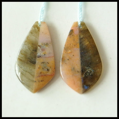 Pink Opal And Labradorite Glued Gemstone Earrings Pair, 29x16x4mm, 5.4g - MyGemGarden