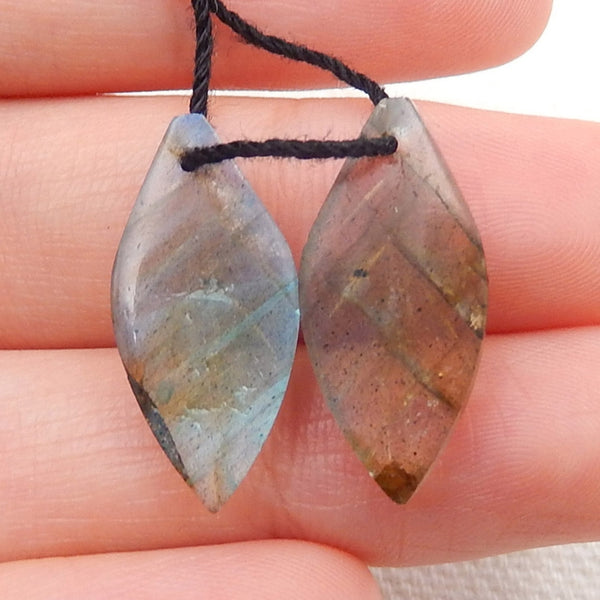 Labradorite Carved Leaf Earrings Stone Pair, 20x10x4mm, 2.3g - MyGemGarden