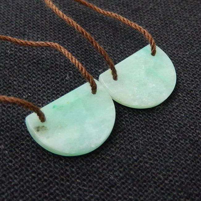 Chrysocolla Earrings Stone Pair, stone for earrings making, 16x11x2mm, 1.6g - MyGemGarden