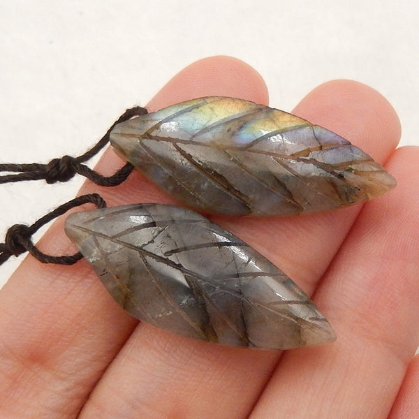 Labradorite Carved Leaf Earrings Stone Pair, 29x12x4mm, 4.4g