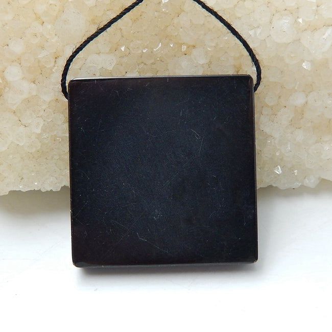 Natural Black Stone And Chohua Jasper Drilled Glued Square Pendant Bead, 34x34x6mm, 16.5g - MyGemGarden