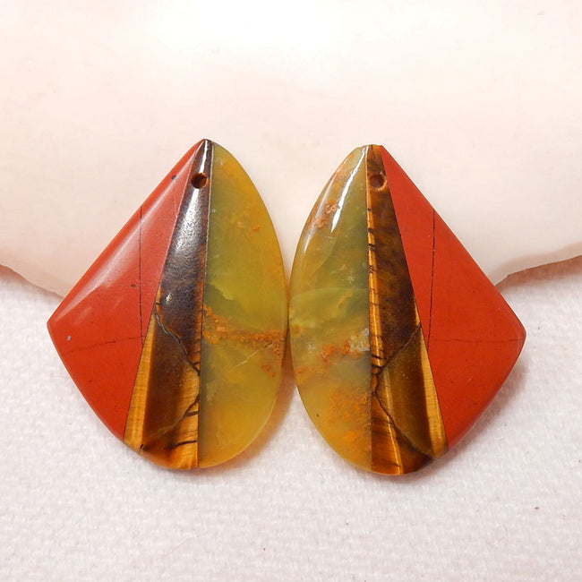 Yellow Opal, Tiger-Eye And Red River Jasper Glued Gemstone Earrings Stone Pair, 27x20x4.5mm, 6.5g - MyGemGarden