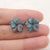 Carved Blue Apatite Crystal Flower Earrings Stone Pair, 13x3mm, 1.8g