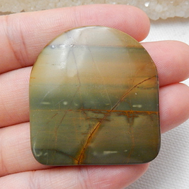 Natural Multi-Color Picasso jasper Gemstone Cabochons, 40x37x4mm, 14.5g - MyGemGarden