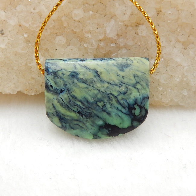 Green Turquoise Side Drilled Pendant Stone, 25x20x8mm, 6.4g